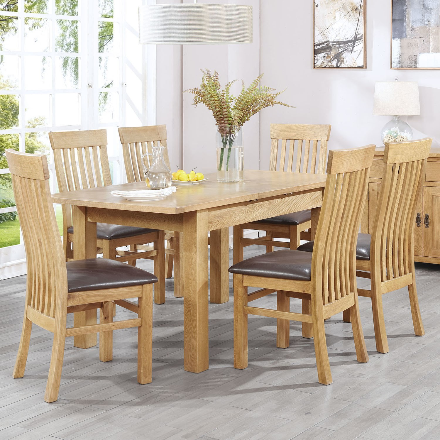 Extendable Solid Oak Dining Table and 6 Chairs - Rustic Saxon Range