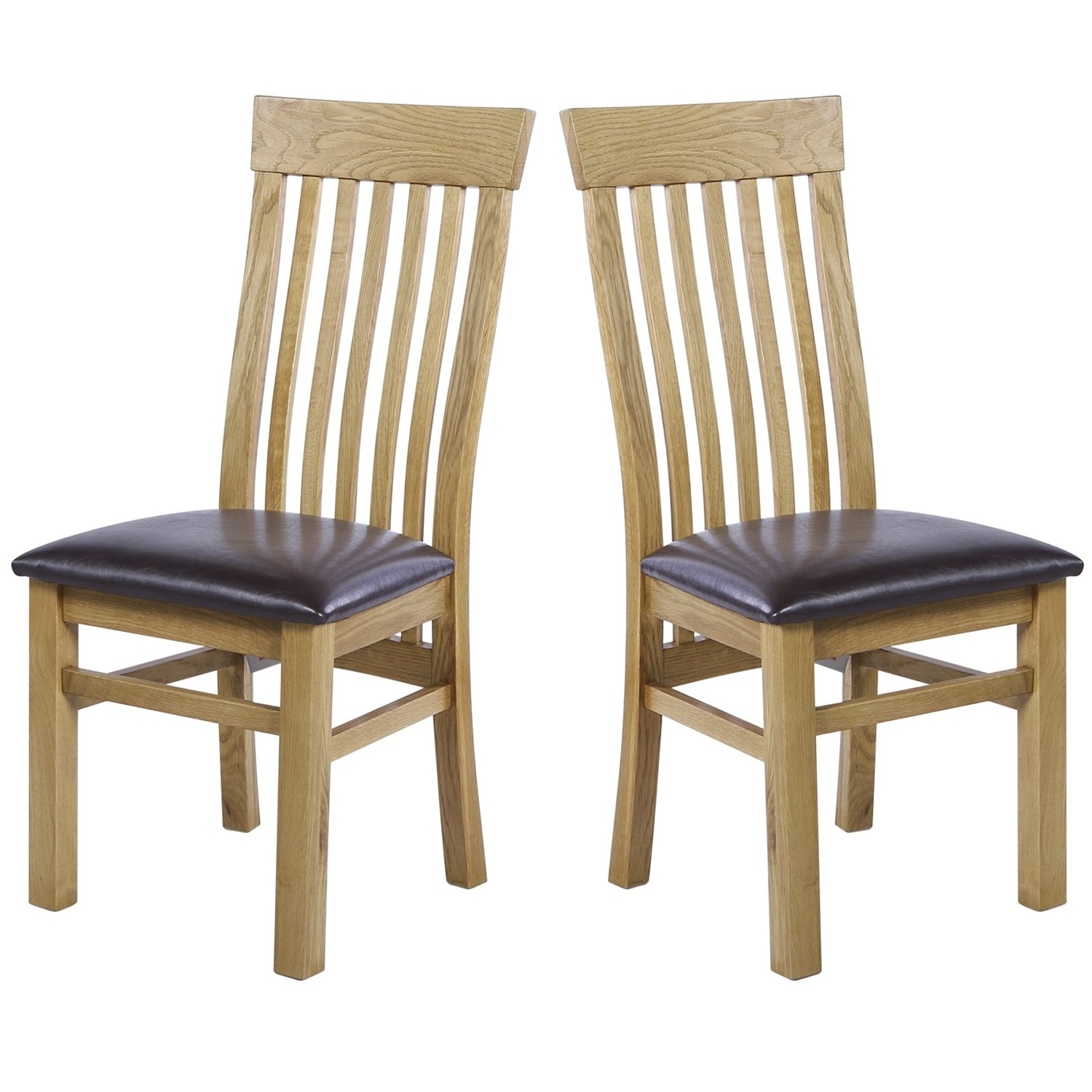 225 & Rustic Saxon Pair of Solid Oak Dining Chairs with Brown Faux Leather Seat