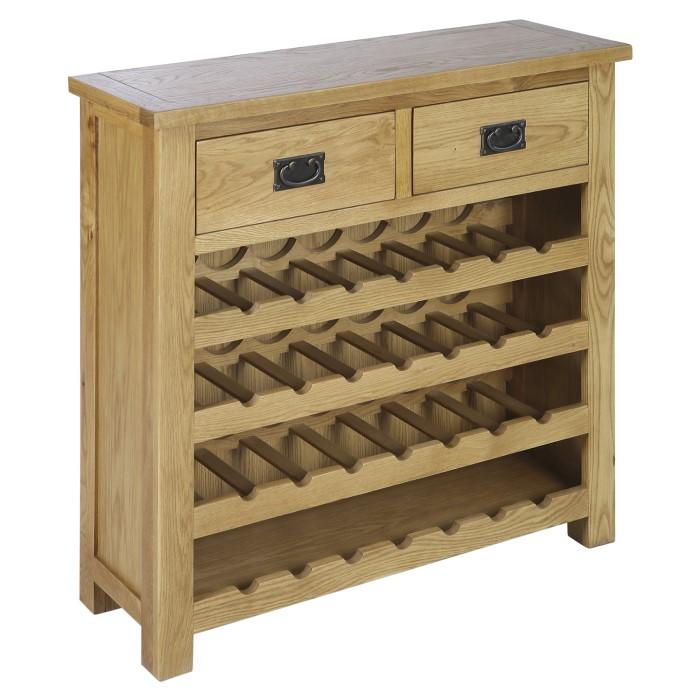 Solid Oak Wine Rack Sideboard With Drawers Rustic Saxon Furniture123