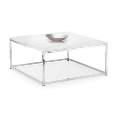 White Marble Silver Coffee Table Julian Bowen Scala
