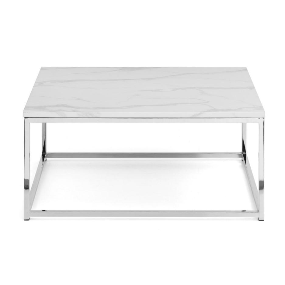 White Marble & Silver Coffee Table - Julian Bowen Scala ...