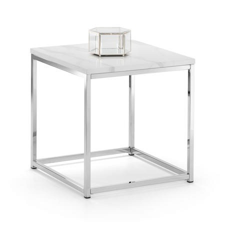 White Marble Side Table with Silver Legs - Julian Bowen Scala