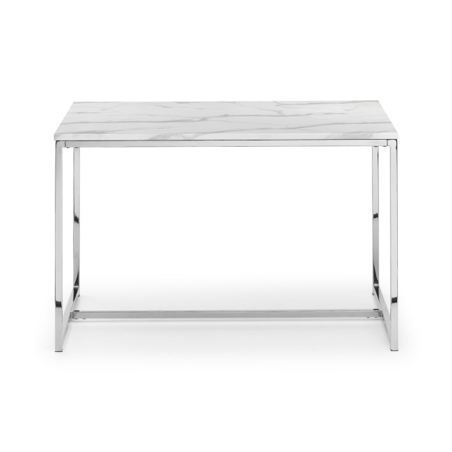 White Marble Dining Table with Silver Mirrored Legs - Julian Bowen Scala