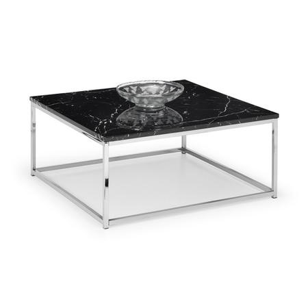 Black Marble Coffee Table with Silver Base - Julian Bowen Scala