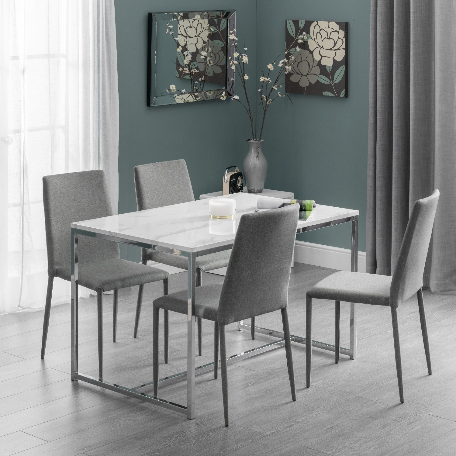 White Marble Dining Table With 4 Grey Dining Chairs Julian Bowen Scala Furniture123