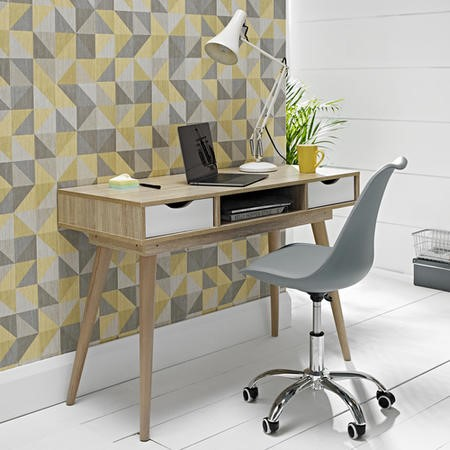 Scandi White Office Desk with Storage Drawers