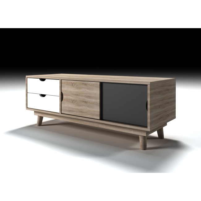 LPD Scandi Oak Effect TV Unit Grey and White Drawers - TV's up to 45""