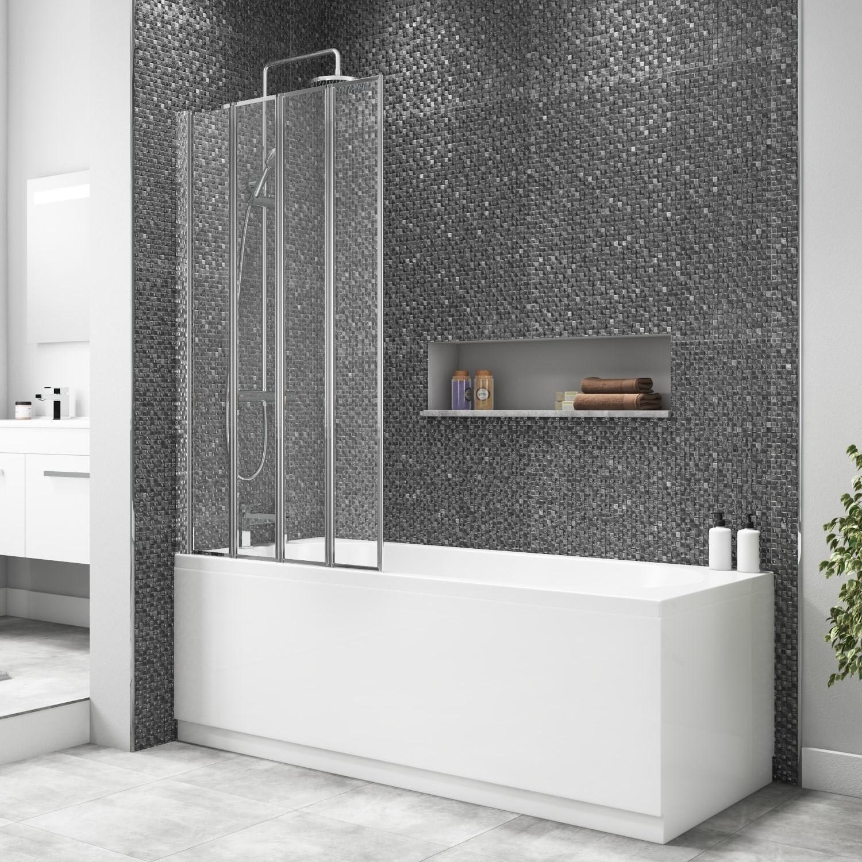 4 Fold Shower Bath Screen with Chrome Frame 830 x 1400mm