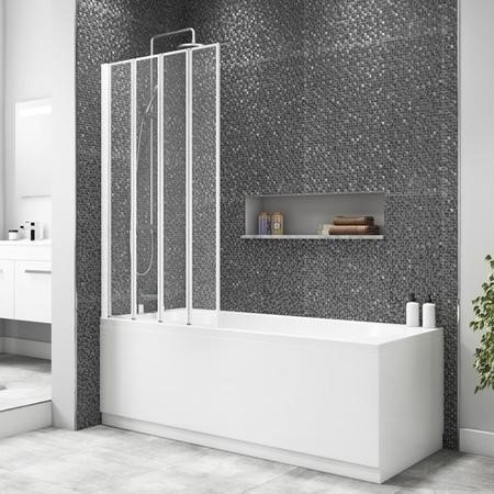 Taylor & Moore 4 Fold Shower Bath Screen with White Frame - 830 x 1400mm