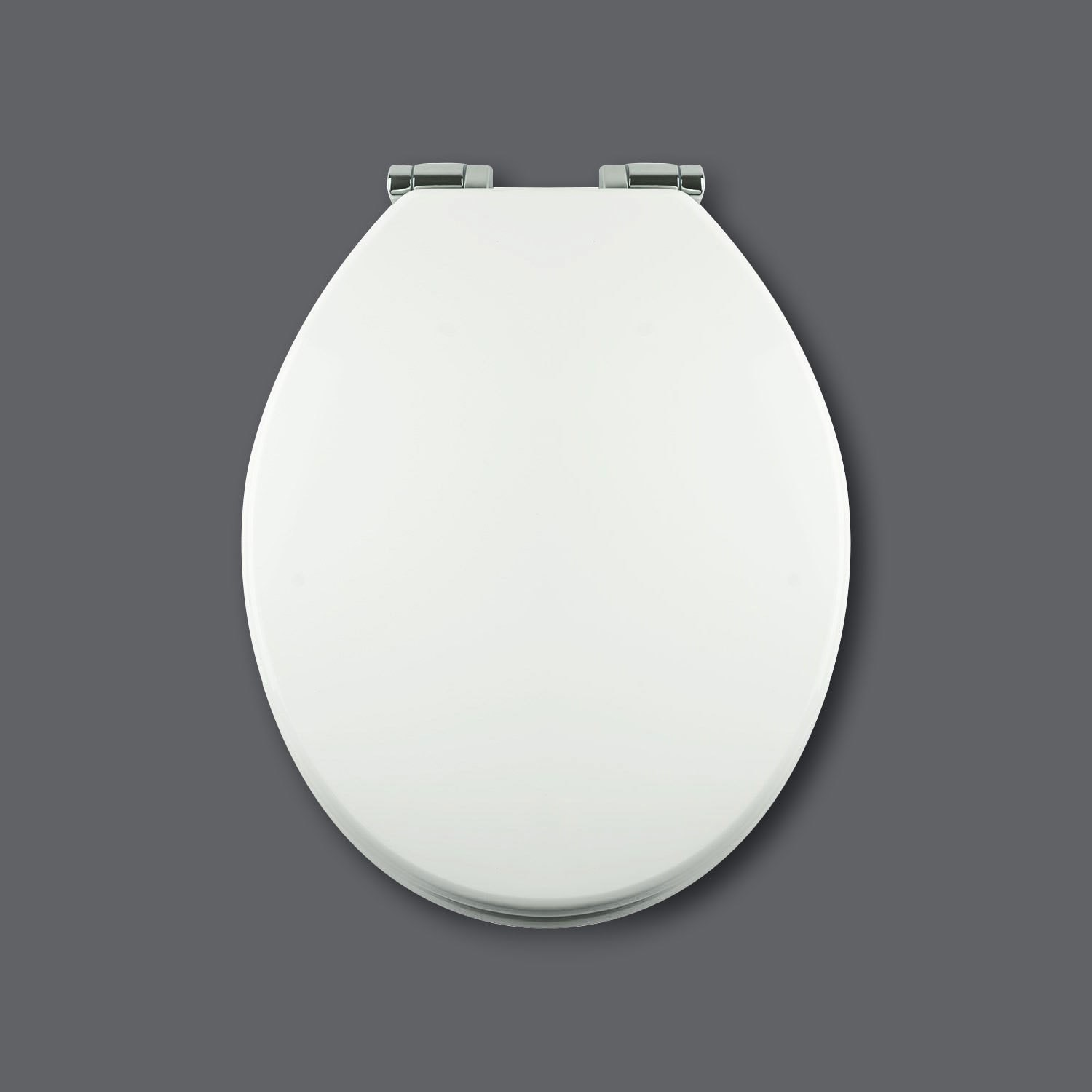 Soft Close Toilet Seat in White with Chrome Hinges