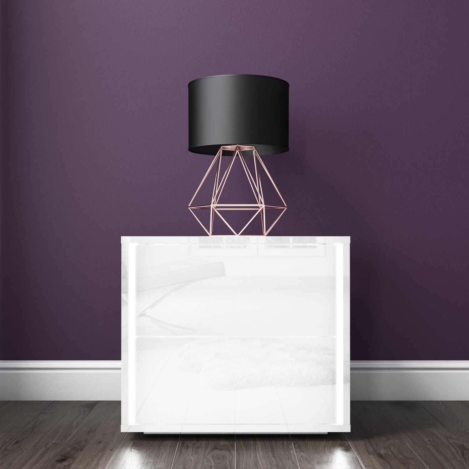 Selena White High Gloss Bedside Table With Led Light Furniture123