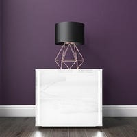Selena White High Gloss Bedside Table With LED Light