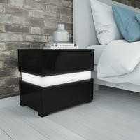 Sense Black High Gloss Bedside Table with LED Light