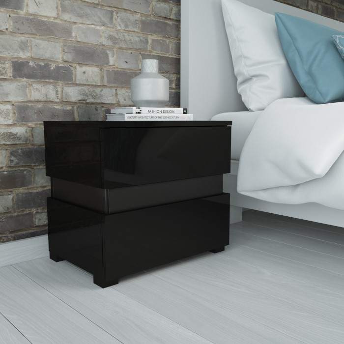 Sense black high gloss bedside table with led light furniture123 sense black high gloss bedside table with led light watchthetrailerfo