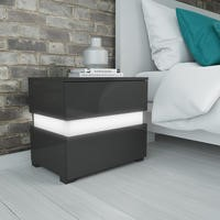Sense Grey High Gloss Bedside Table with LED Light