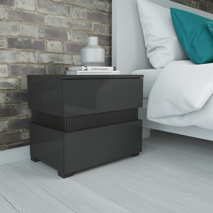 Sense Grey High Gloss Bedside Table With Led Light Furniture123