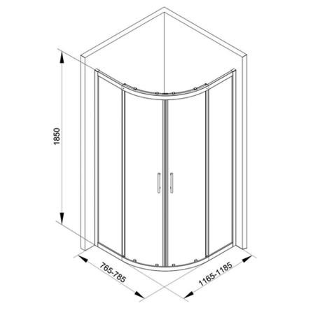 Offset Reversible Quadrant Shower Enclosure with Twin Sliding Door - 1200 x 800mm