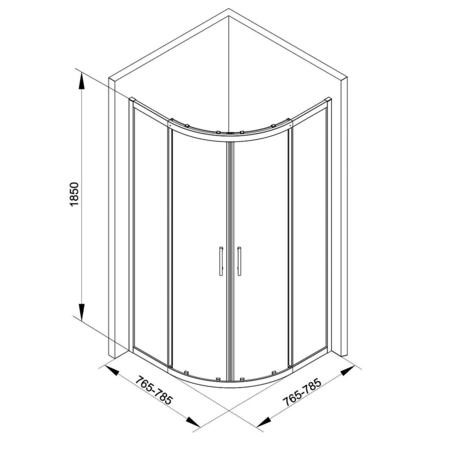 Quadrant Shower Enclosure with Twin Sliding Door 800 x 800mm