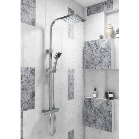 Cubic Square Shower with Thermostatic Valve & Slide Rail Kit