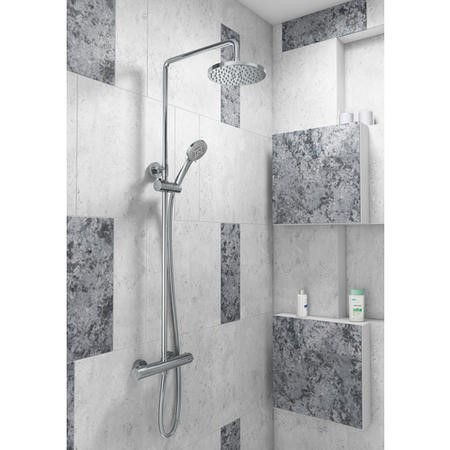 Dio Round Shower with Thermostatic Valve & Slide Rail Kit