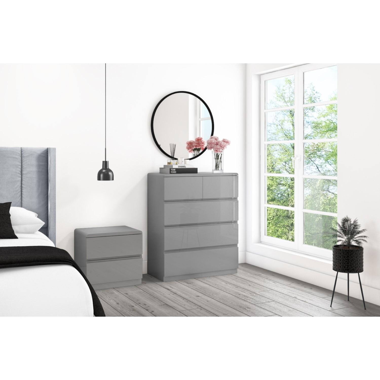 Skylar Grey Gloss Bedside Table - 9 Drawer