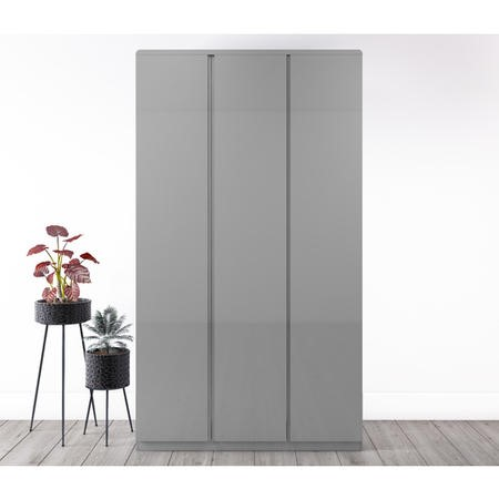 GRADE A1 - Skylar Grey Gloss Triple Wardrobe