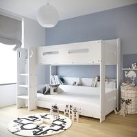 Sky White Bunk Bed with Adjustable Ladder