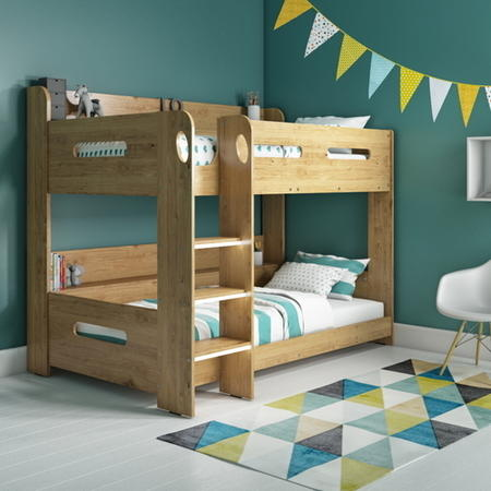 Sky Bunk Bed In Oak Ladder Can Be Fitted Either Side