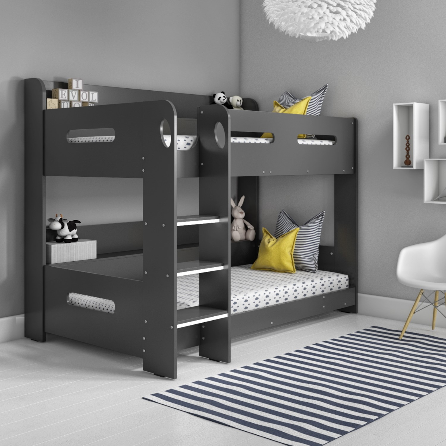 Picture of: Sky Bunk Bed In Dark Grey Ladder Can Be Fitted Either Side Furniture123