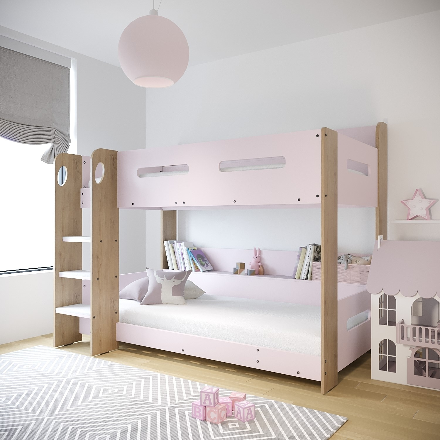 Sky Bunk Bed In Pink And Oak Ladder Can Be Fitted Either Side Furniture123