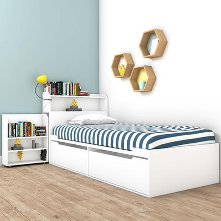 Sloan White Cabin Bed with Storage Headboard and Underbed Drawers