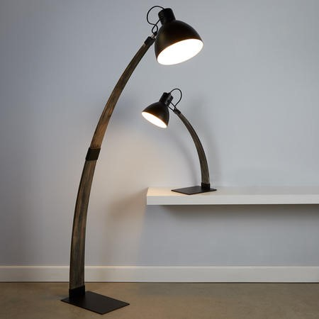 Floor Lamp in Matt Black & Ash Wood - Nanna