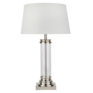 Pedestal Silver Table Lamp with Glass Column & Cream Shade