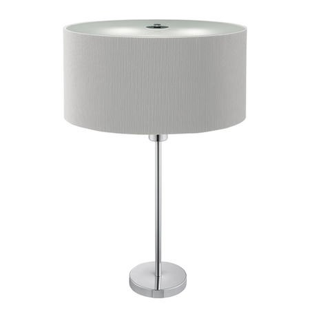 Drum Silver Table Lamp with 2 Lights & Silver Pleated Light Shade