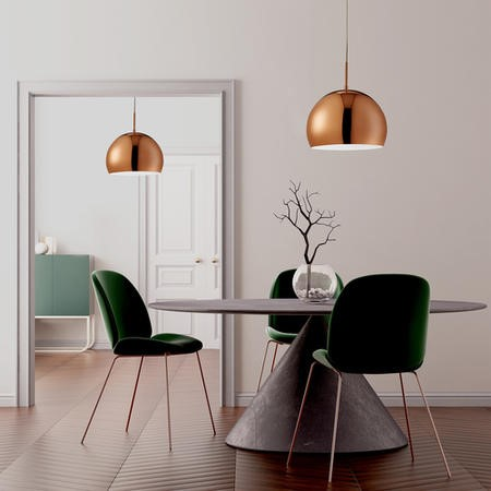 Ceiling Pendant Light with Round Copper Shade- Industrial Style