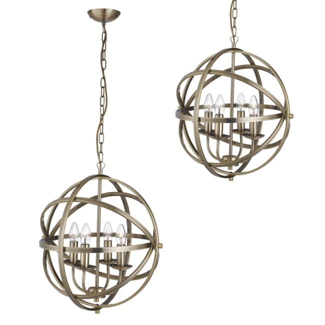 Gold Pendant Light with 3 Candle Lights - Orbit
