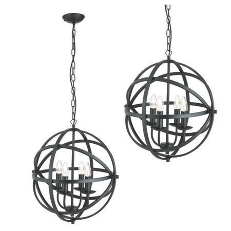Orbit Matt Black Round Cage Frame Ceiling Pendant Light with 4 Candle Lights