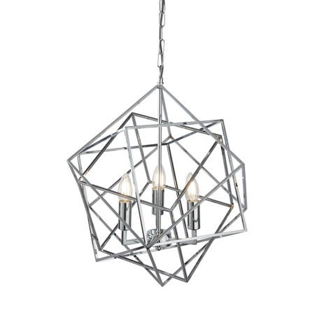 Geometric Pendant Light with 3 Candles in Chrome - Cube