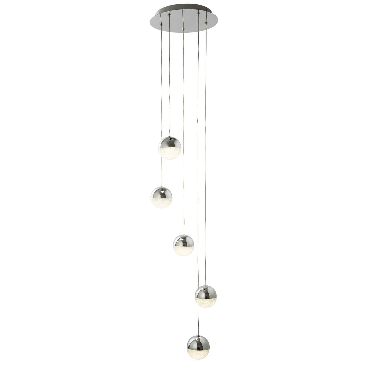 5 Hanging Pendant Lights in Chrome  Marbles