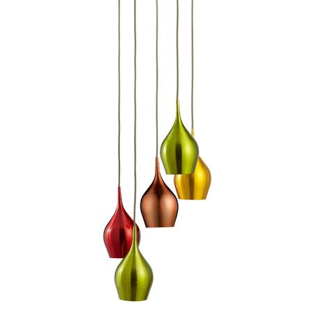 Hanging Lights with 5 Pendants in Red Green Gold & Copper - Vibrant