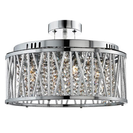 Elise Chrome Ceiling Light with Decorative Clear Crystals