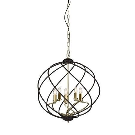Large Pendant Light in Black & Gold with 5 Candles - Flow