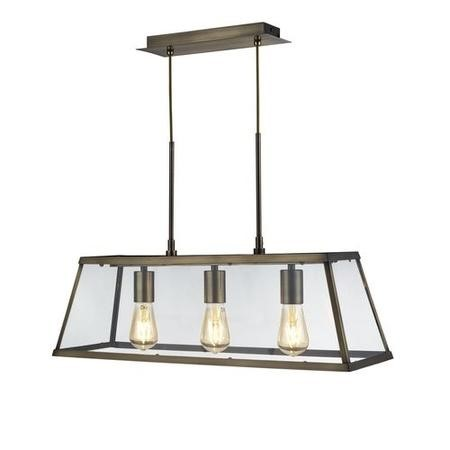 Bar Light in Antique Brass & Clear Glass Shade - Voyager