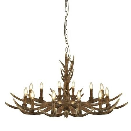 Wooden Ceiling Light with 12 Candle Pendants - Stag