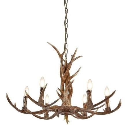Wooden Ceiling Light with 6 Candle Lights Stag/ Antler