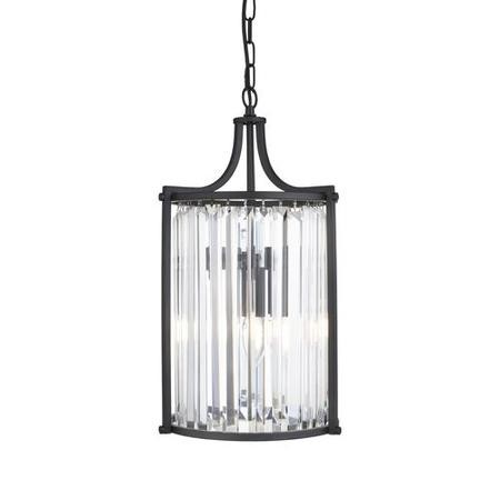 Pendant Light in Matt Black & Crystal Glass - Victoria