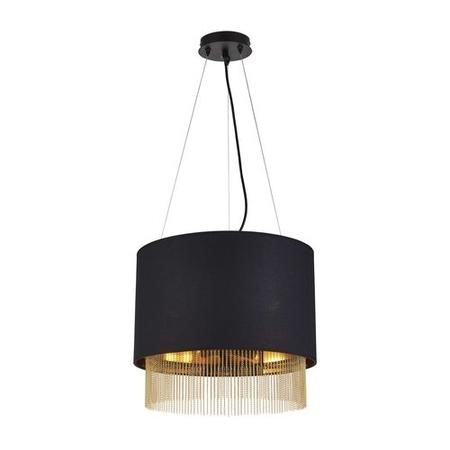 Black Pendant Light with Gold Chains - Searchlight