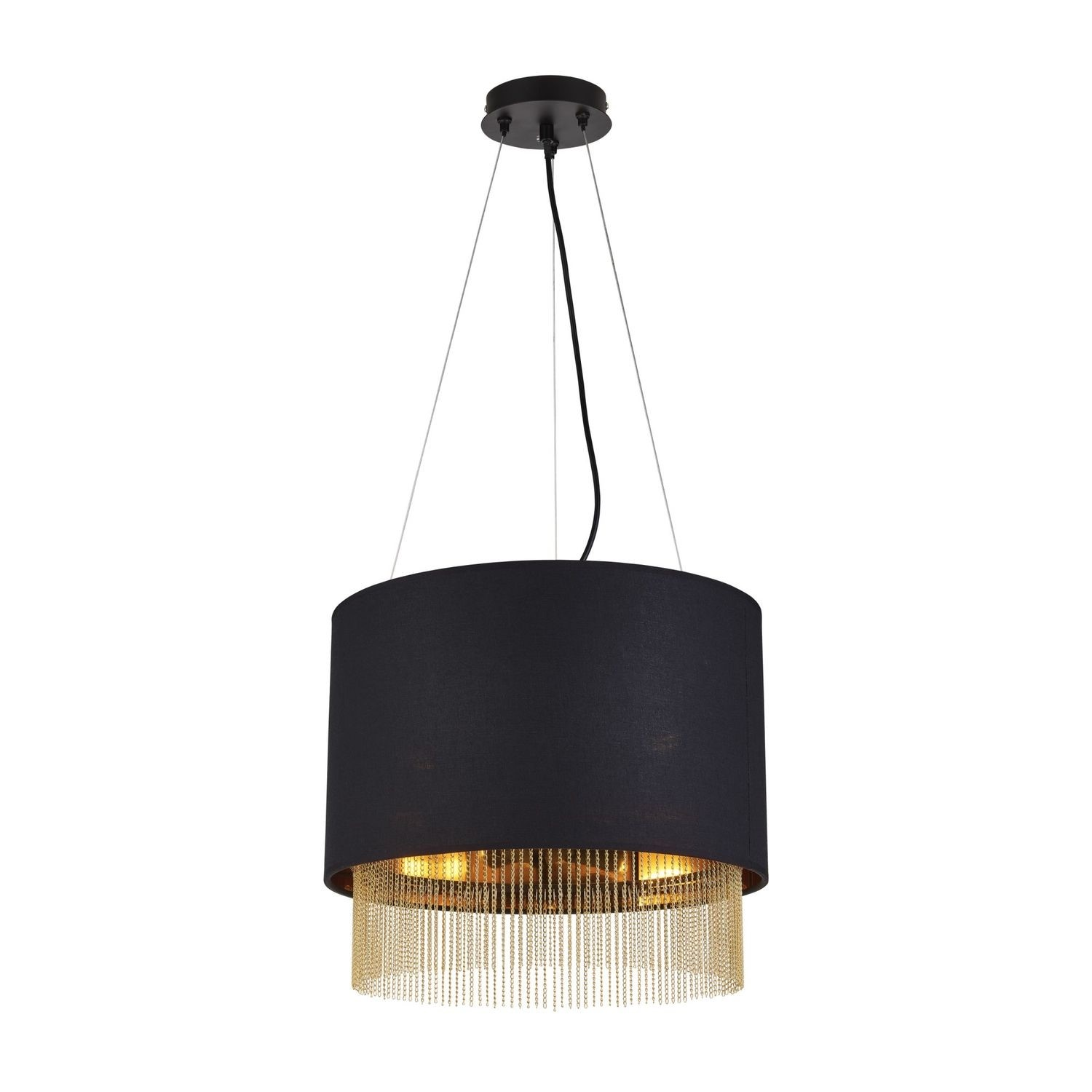 Black Pendant Light With Gold Chains Searchlight Furniture123