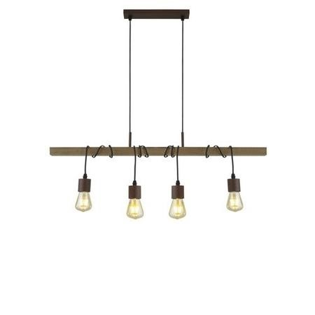 Bar Light with Wood Beam & 4 Pendants - Barn