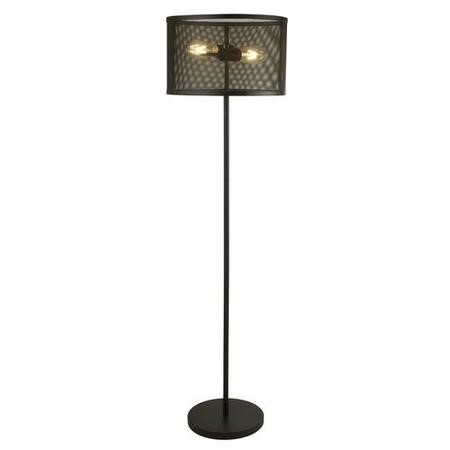 Black Floor Lamp with Mesh Shade - Fishnet